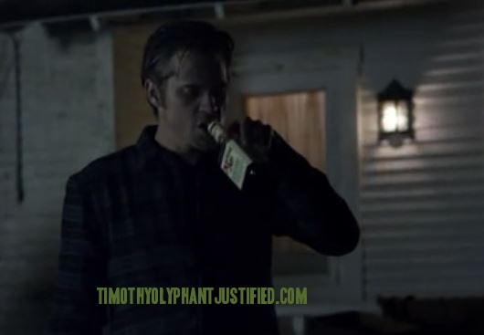Raylan drinking from bottle text